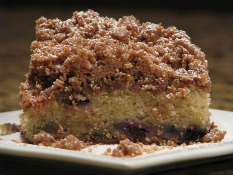 New York Style Crumb Cake at www.friendsfoodfamily.com