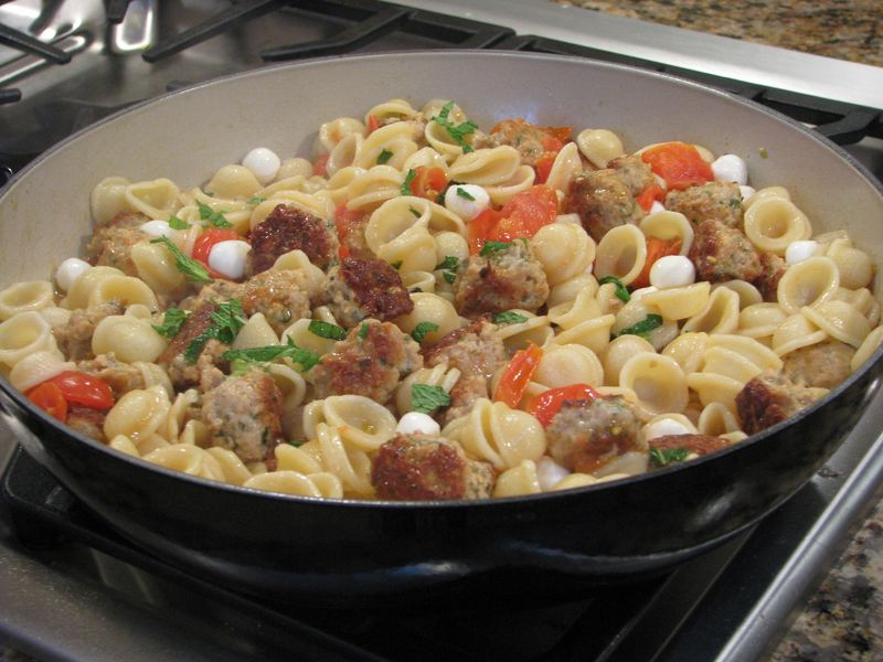 Orecchiette with mini chicken meatballs at www.friendsfoodfamily.com