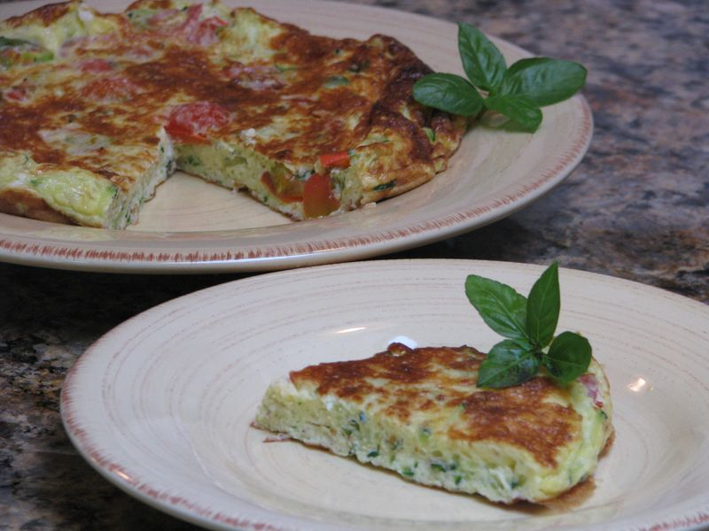 Zucchini and Tomato Frittata @ www.friendsfoodfamily.com