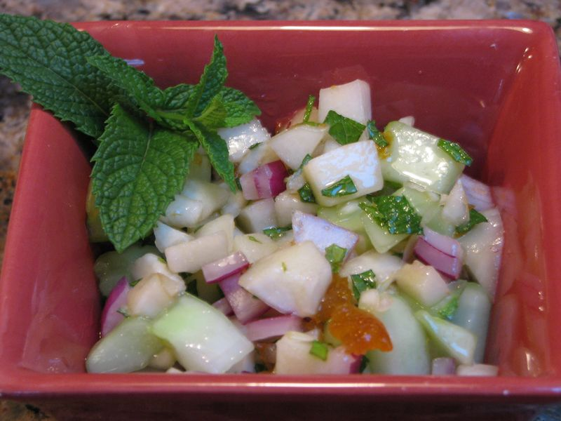 Cucumber-Peach Salsa @ www.friendsfoodfamily.com