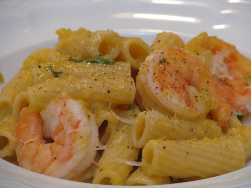 Rigatoni with Squash and Prawns at www.friendsfoodfamily.com