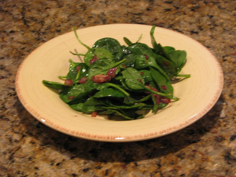 Wilted Spinach Salad at www.friendsfoodfamily.com