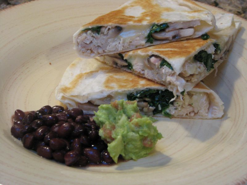 Chicken and Spinach Quesadillas at www.friendsfoodfamily.com