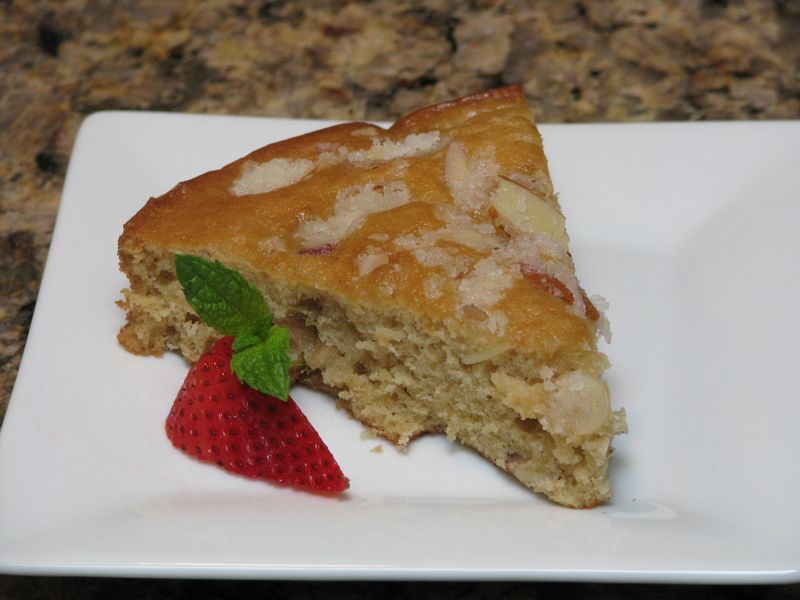 Almond Rhubarb Coffee Cake at www.friendsfoodfamily.com
