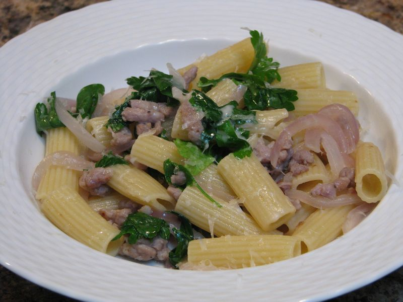 Rigatoni with sausage and parsley @ www.friendsfoodfamily.com