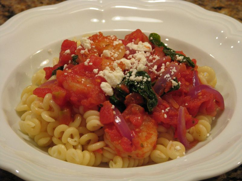 Shrimp, Red Onions and Spinach with Feta Cheese at Friend Food Family
