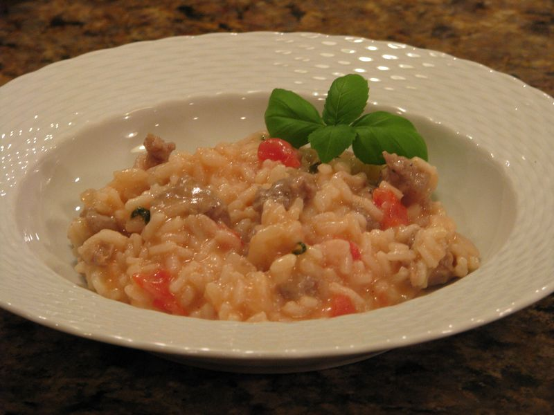 Sausage Risotto with Tomatoes and Basil at Friends Food Family