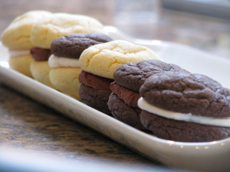 Row of Chocolate and Vanilla Sandwich Cookies at Friends Food Family