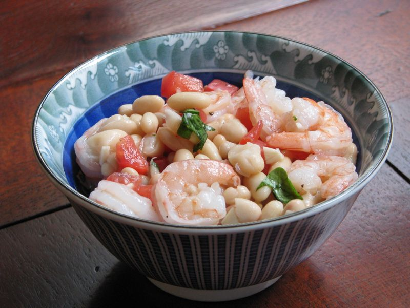 White Bean, Shrimp and Tomato Salad at Friends Food Family