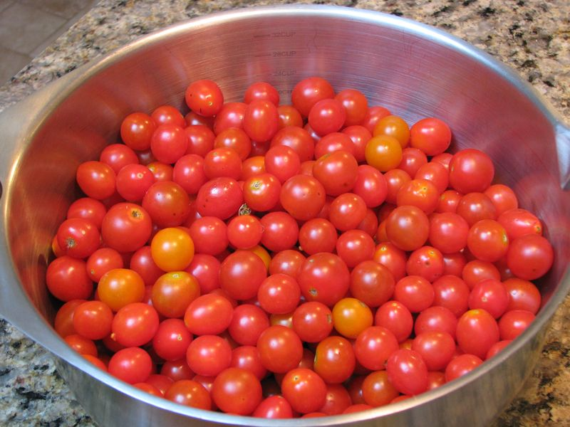 Bowl of Fresh Cherry and Grape Tomatoes at www.friendsfoodfamily.com