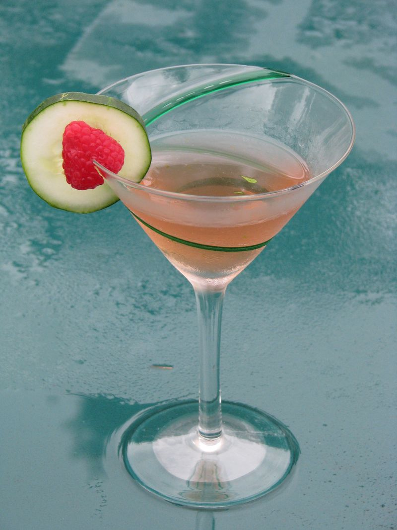 Cucumber (Raspberry) Martini at www.friendsfoodfamily.com