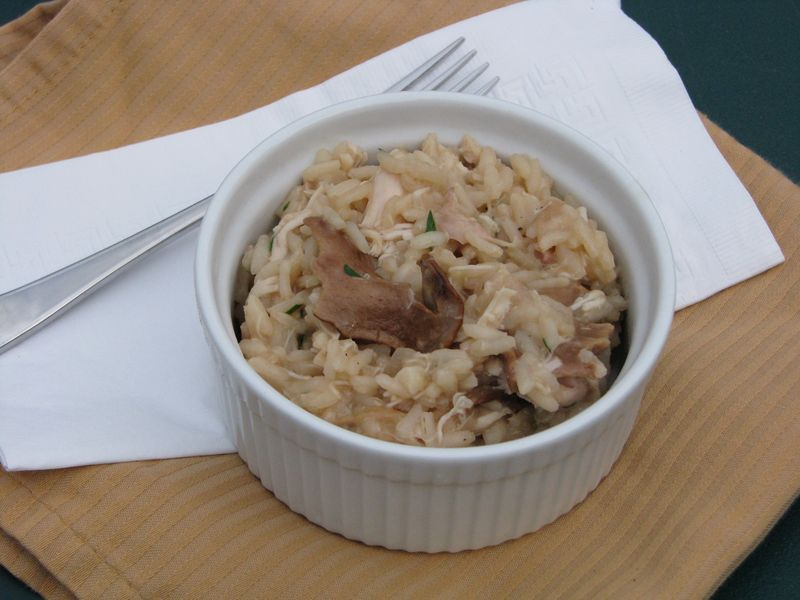 Chicken and Mushroom Risotto with Fresh Tarragon at www.friendsfoodfamily.com