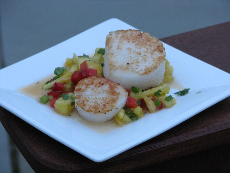 Seared Scallops with Pineapple Pepper Salsa at Friends Food Family