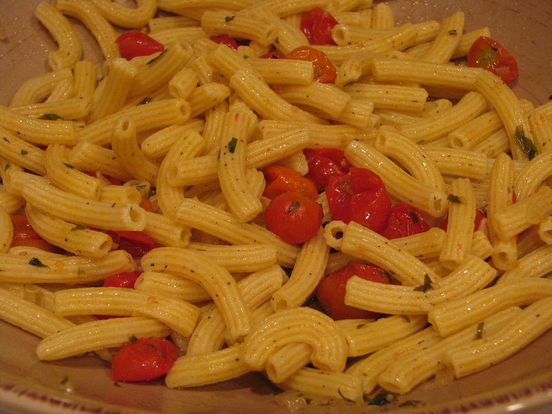 Oven Roasted Cherry Tomato Sauce with Fresh Pasta at www.friendsfoodfamily.com