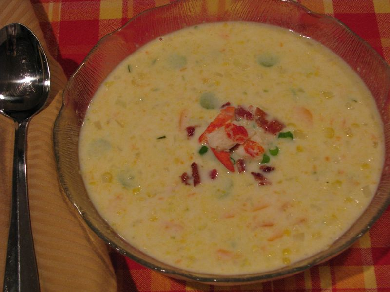 Corn Soup with Lobster at www.friendsfoodfamily.com