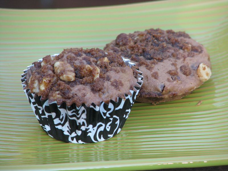 Cappuccino Chocolate Chip Muffins with a Streusel Top at www.friendsfoodfamily.com