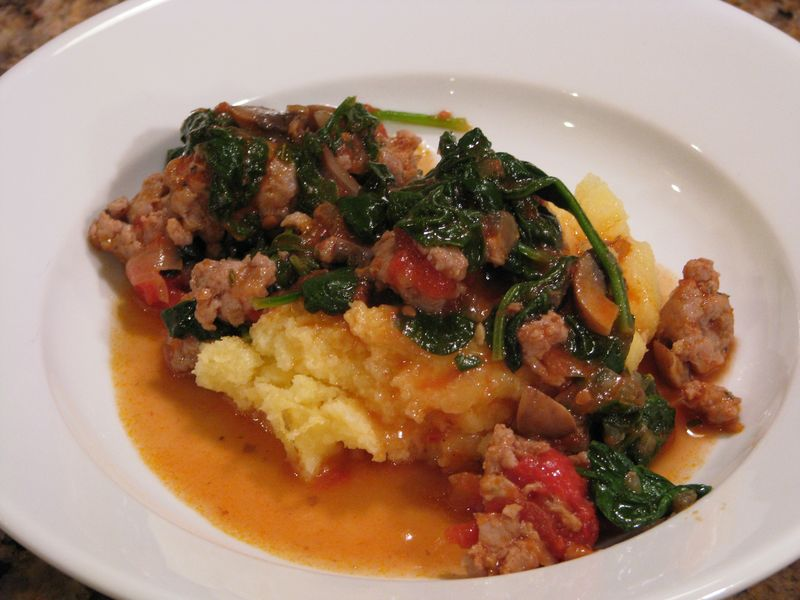 Sausage with Tomatoes, Spinach and Portabello Mushrooms @ friendsfoodfamily.com