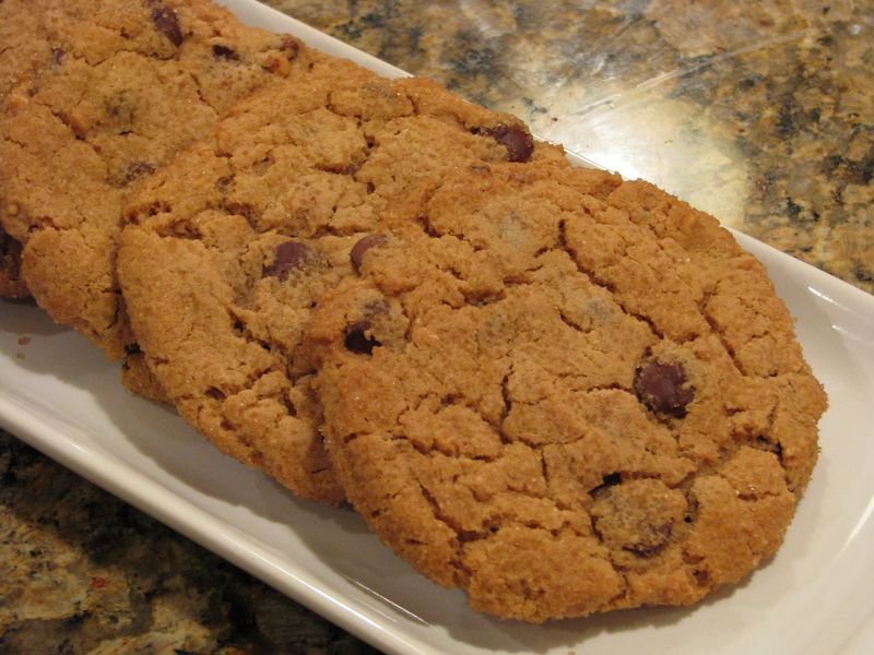 Giant Peanut Butter Cookies with Dark and Milk Chocolate Chips @ friendsfoodfamily.com
