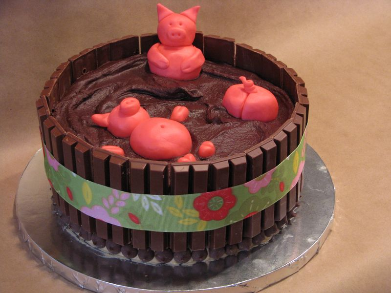 Happy Pig Eating Chocolate Cake