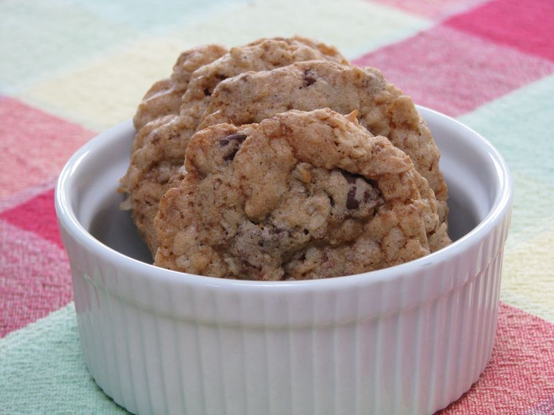 Oatmeal Chocolate Chip Cookies with Coconut and Heath Bar Bits at FriendsFoodFamily.com