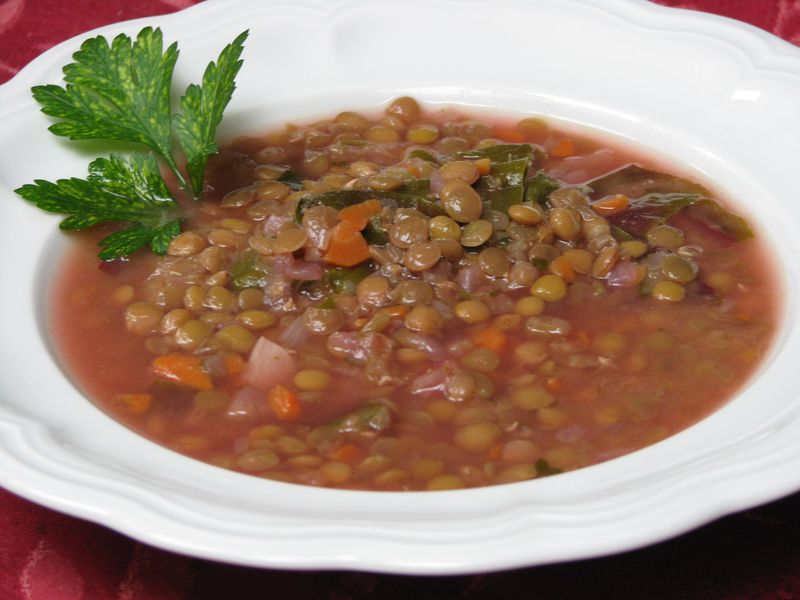 Lebanese Lemon Lentil Soup with Swiss Chard at FriendsFoodFamily.com