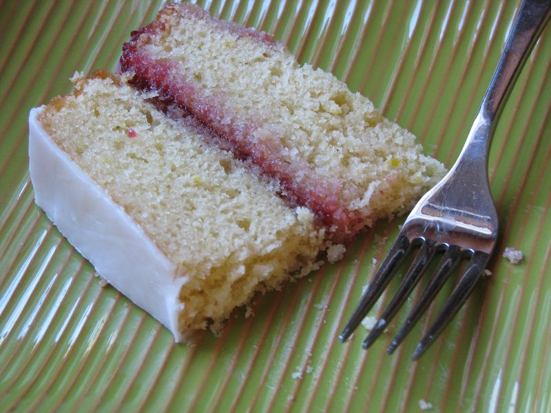 B Lemon Raspberry Cake with Lemon Icing @ FriendsFoodFamily.com