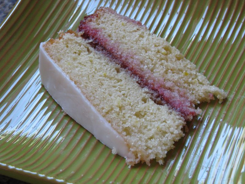 A Lemon Raspberry Cake with Lemon Icing @FriendsFoodFamily.com