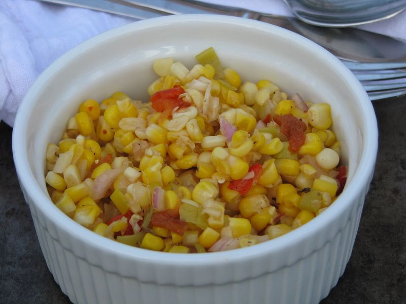 Sweet and Tangy Corn with Roasted Red Peppers @ FriendsFoodFamily.com