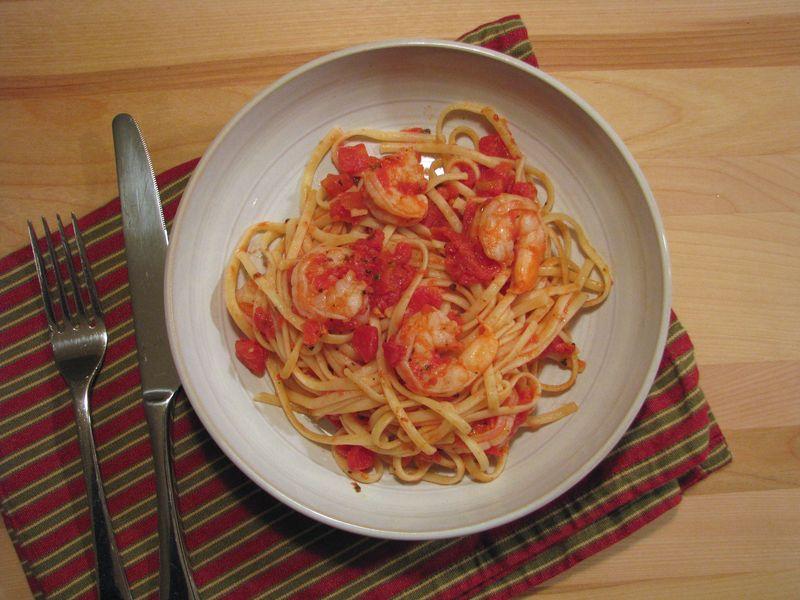 Easy Shrimp and Pasta with a Light Tomato Sauce @ FriendsFoodFamily.com