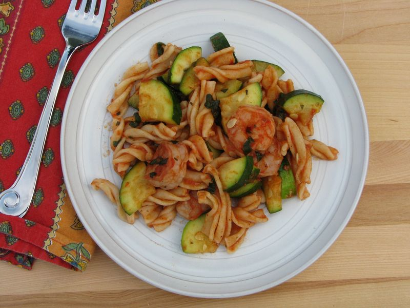 Basil, Shrimp and Zucchini with Pasta at Friends Food Family
