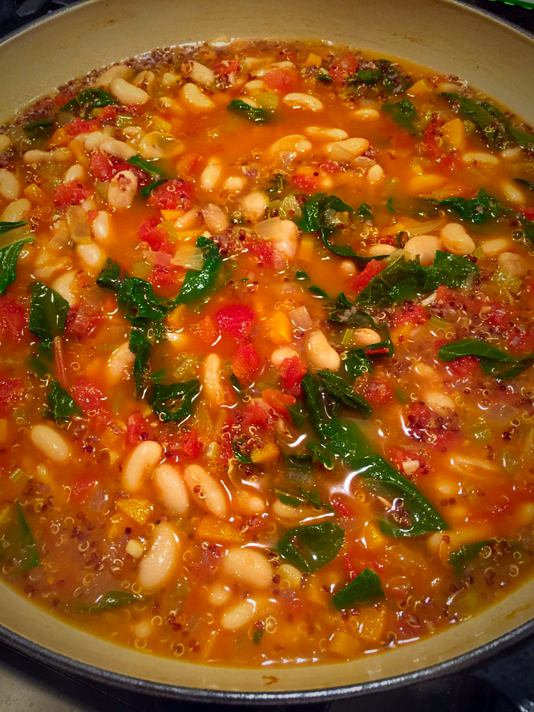 White Bean Soup with Swiss Chard and Quinoa