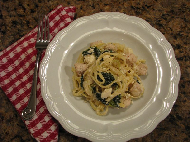 Linguine with Chicken, Spinach and Feta